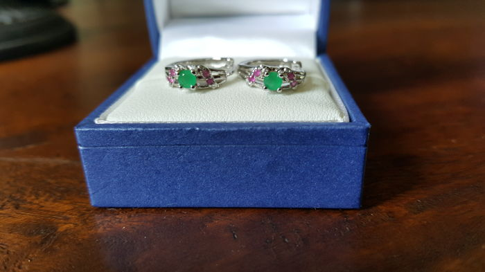 White gold earrings with natural Emerald and Ruby. NO RESERVE PRICE!