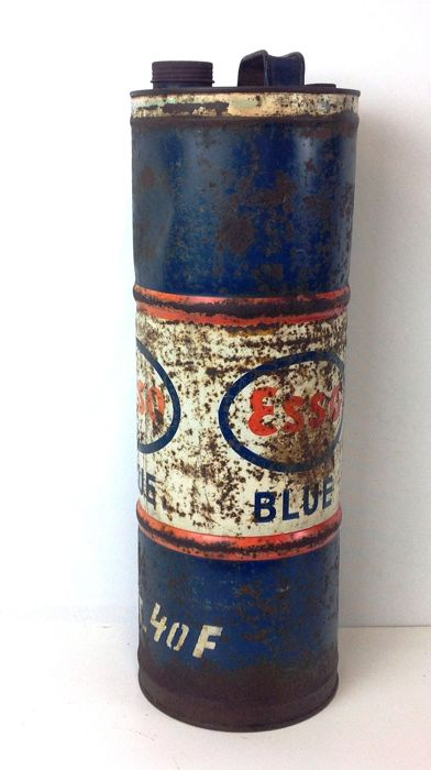 Large tin metal ESSO Blue fuel canister with large cap and venting cap - 2nd half 20th century