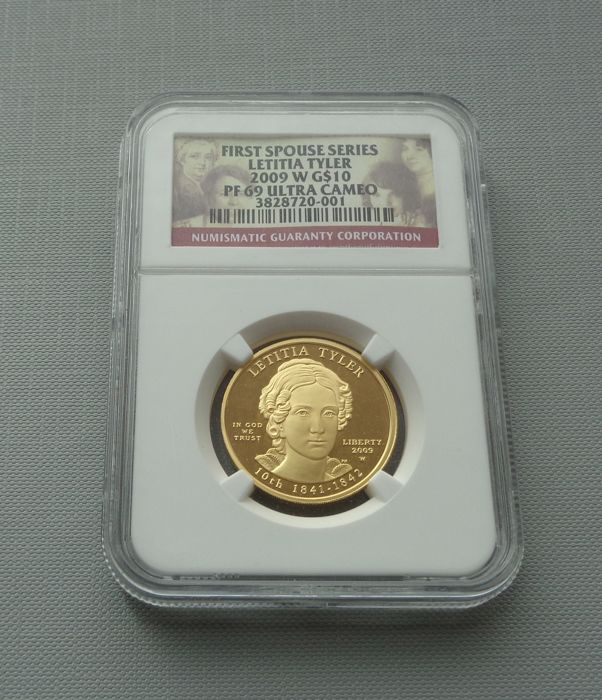 United States - 10 Dollars 2009-W 'Letitia Tyler' in NGC Slab - 1/2 oz Gold