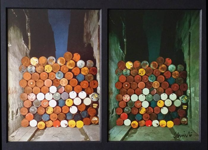 Christo Javacheff - Wall of Oil Barrels, signed, and photograph