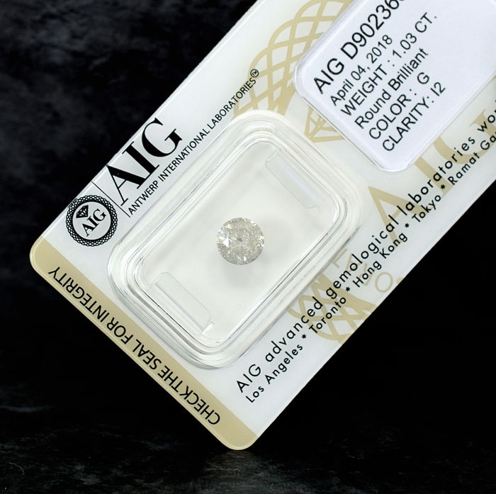 Natural Diamond - 1.03 ct, G / I2 - NO RESERVE PRICE - EXC/G/G