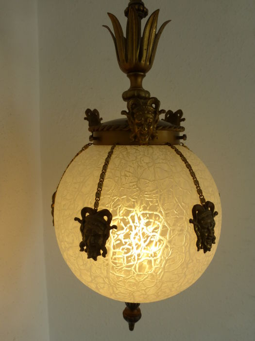 Italian Baroque hanging lamp with harlequins or jesters - glass and copper - ca. 1950 - Italy