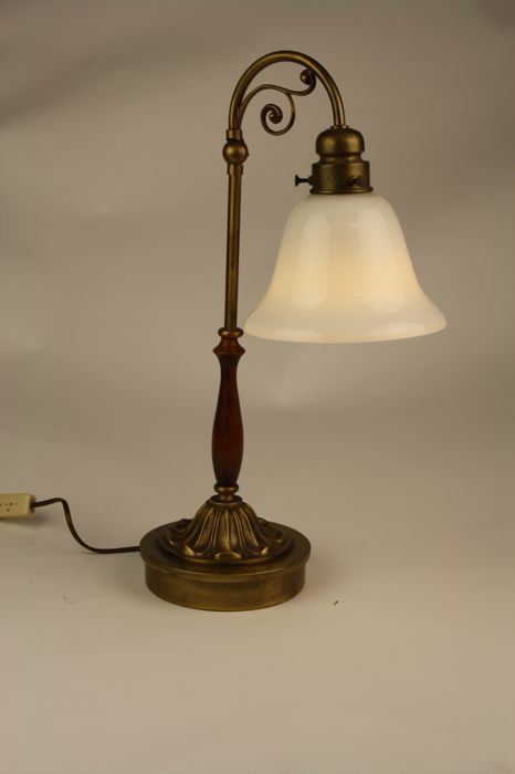 Beautiful Large Brass Table Lamp With Glass Shade 52 Cm Catawiki