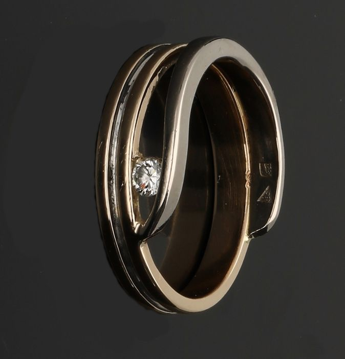 14 kt gold ring (bicolour) with diamond - Ring size 16.25 mm
