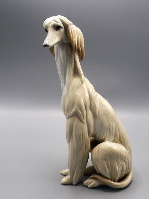 Lladro porcelain sculpture of a long-haired Afghan greyhound