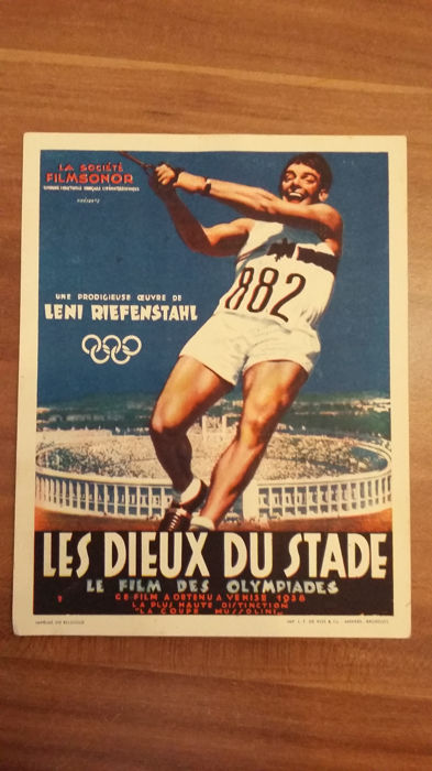 Postcard Les Dieux du Stade by Leni Riefenstahl in 1936