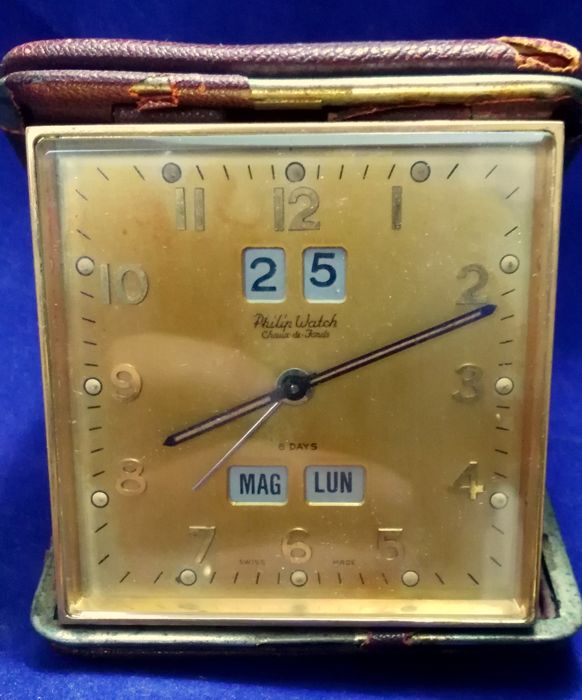 Travel clock with complete calendar by Philip Watch, Made in Italy - mechanical, charge lasting 8 days - very rare