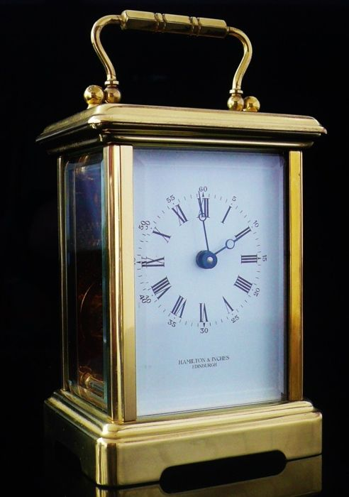Bornand Freres Brass Carriage Clock for Hamilton & Inches - second half 20th century