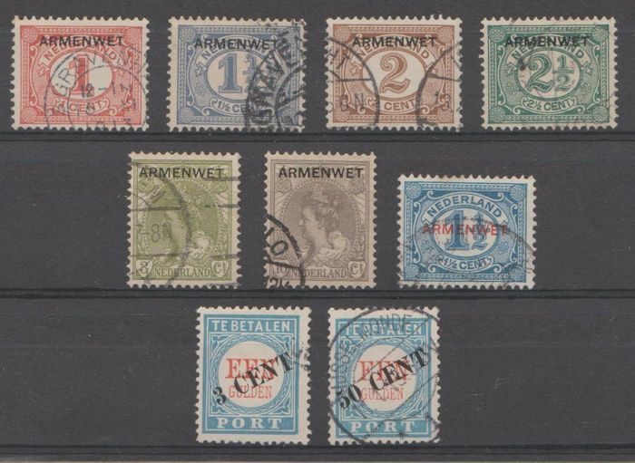 Netherlands 1906/1913 - Dutch poverty and Port Service stamps - NVPH D1/D8 + P27/P28 type III