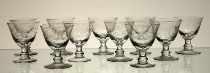 11 goblets in engraved crystal in Louis XVI style, early 20th century