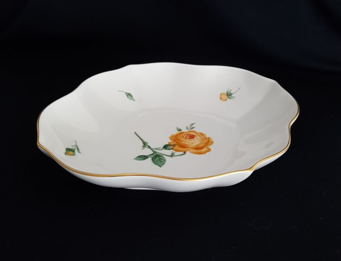 Meissen Porcelain Yellow Rose Oval Bowl
