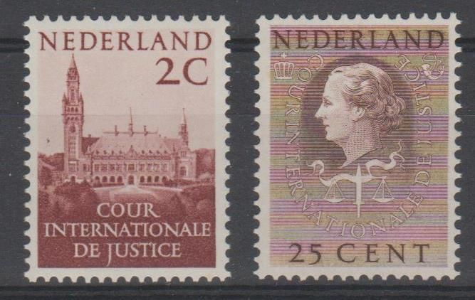 Netherlands 1951/1958 - Service stamp Cour International de Justice - NVPH D27 + D38