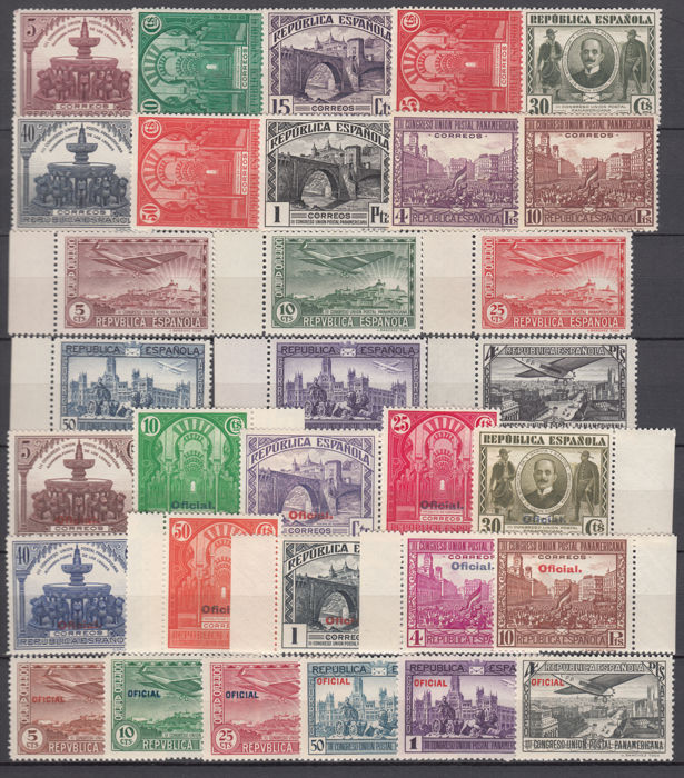 Spain 1931 - Congress of the Postal Union - Edifil 604/613, 614/619, 620/629, 630/635.