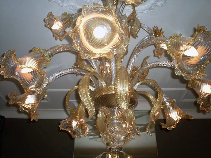 Vetreria Guarnier Giordano Guarnieri - set of crystal chandeliers with gold-leaf, 12 light bulbs