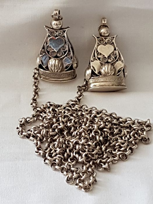 Long silver belcher chain with two watch signettes, The Netherlands, ca 1980