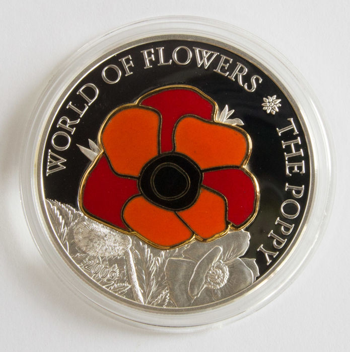 Cookeilanden - 5 Dollar 2009 -The Flowers of the World, POPPY in CLOISOONÉ  - 25 Gram .999 - Zilver