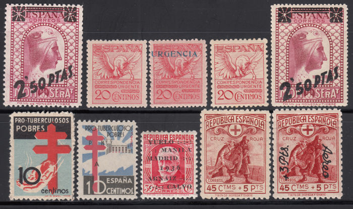 Spain 1929/1938 - Lot well-centered stamps, - Edifil 454, 489, 592A, 741, 767, 768, 791, 791d
