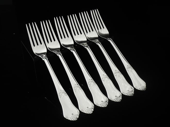 Set of 6 Danish Silver Table Dinner Forks 1955-1959