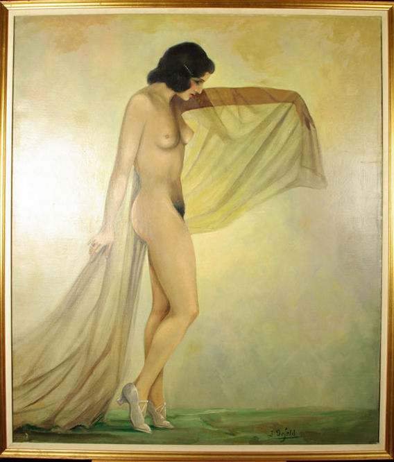 Jean Defeld (act. 1st half of the 20th century) - Beautiful nude of a young woman with the features of the South of Europe - Art Deco painting - oil on canvas