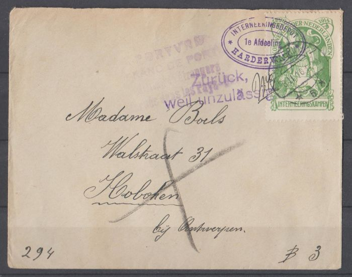 Netherlands 1916 - Internment - NVPH IN 1 op brief