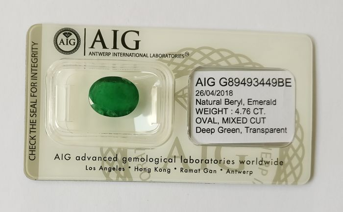 Emerald Deep Green 4.76 ct *** No Reserve ***