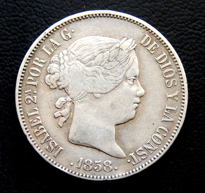 Spain - 20 Reales 1858 Madrid - Isabel II - Silver