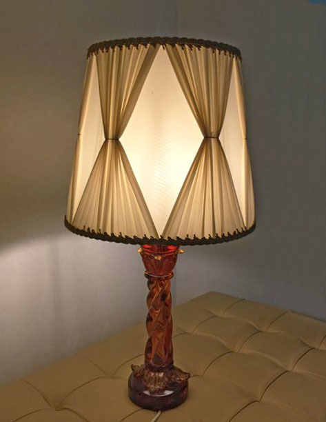 Archimede Seguso - Table lamp with amber twisted column and vintage lampshade (67 cm)