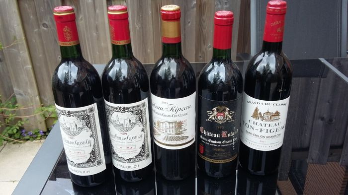 1985 Chateau Ripeau, Saint.-Emilion Grand Cru Classé - 1990 Chateau Roland St. Emilion Grand Cru - 1989 Saint.-Emilion Grand Cru - 1 bottle Chareau Yon Figeac   / total 5 bottles in total