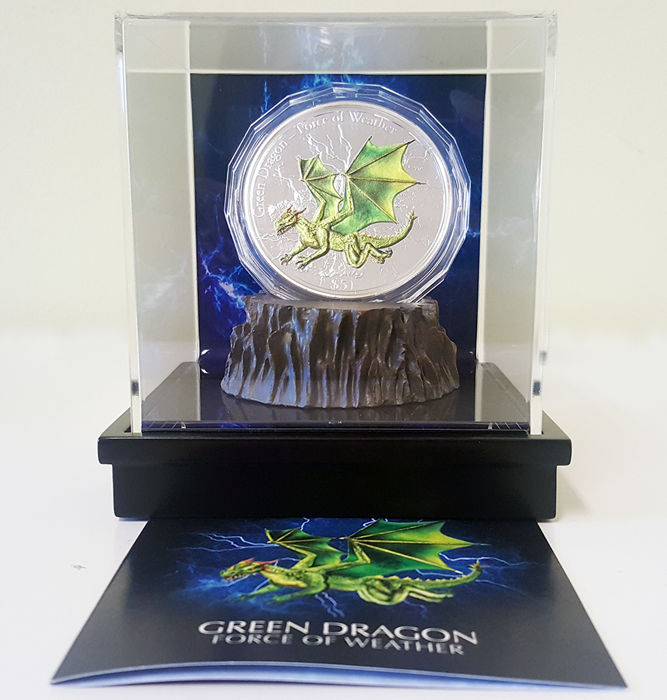 Fiji - 5 Dollar Green Dragon - Force of Weather - 1 x 3 Oz  - Zilver