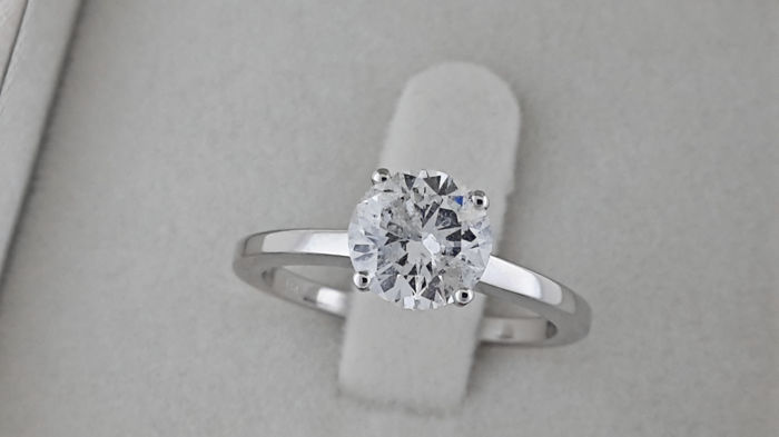 AIG 1.38 carat Round Diamond Solitaire Engagement Ring in Solid White Gold 14K *** NO RESERVE PRICE **