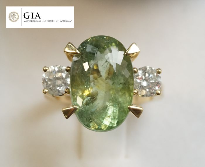 GIA tourmaline Paraiba 11.12 ct, Neon Yellowish Green, with GIA certificate, 1.08 ct of diamonds, colour G, clarity SI