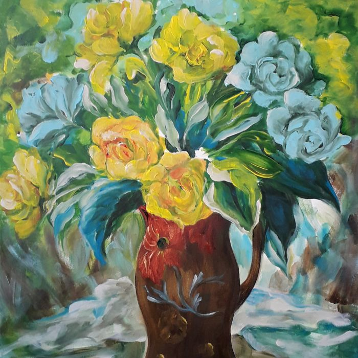 Hilda Hendriksen - Blue roses and yellow