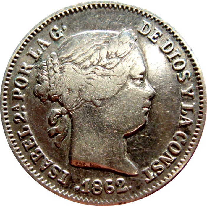 Spain - Isabel II, 1 Real 1862,  Barcelona.  - Silver