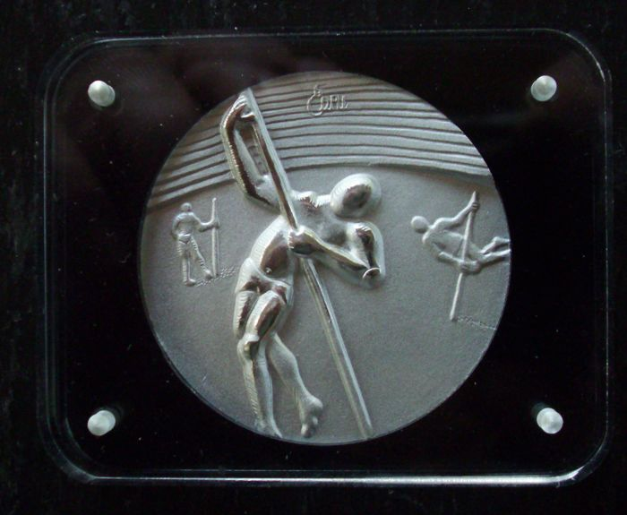 Salvador Dalì - original solid silver medallion - Los Angeles 1984 Olympic Games USA - Pole Vaulting