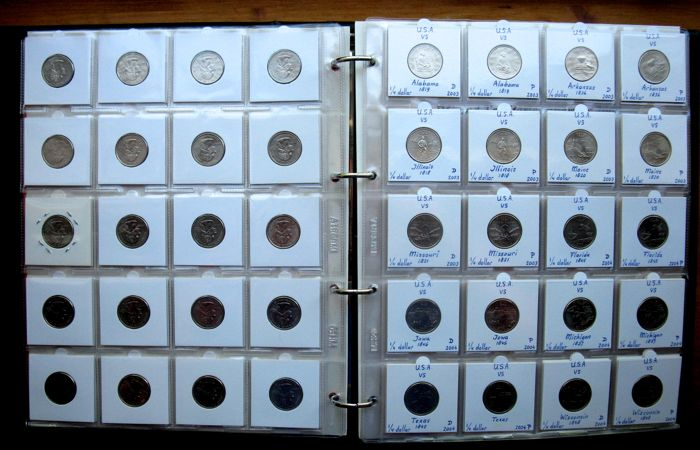 United States - Collection Quarters  1999/2017 complete (232 different coins) in album