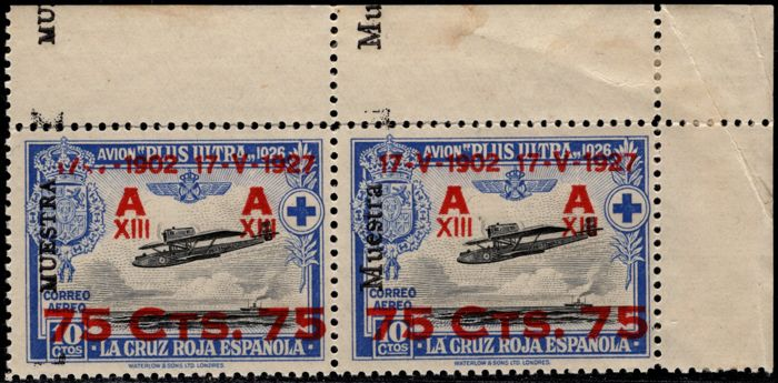 Spain 1927 - Anniversary of the Jura. Couple shows with both types of possible typography, uppercase and lowercase. - Edifil 189M, 389Ma
