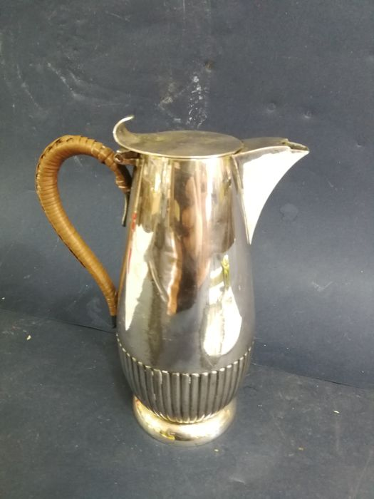 Silver plated coffee pot with wicker handle - by John Round and Son, Sheffield