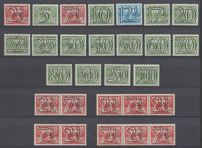 Netherlands 1940 - 'Guilloche' incl. Strips - NVPH 356/373 + 356a/d