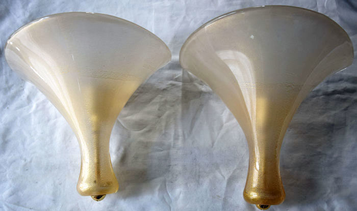 Murano (not attributed) - pair of wall lights with gold leaf
