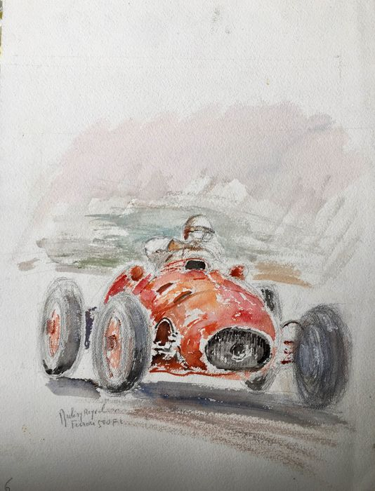 Watercolour and gouache of single-seater car, 50s, by Jacques Dulery-Reyval