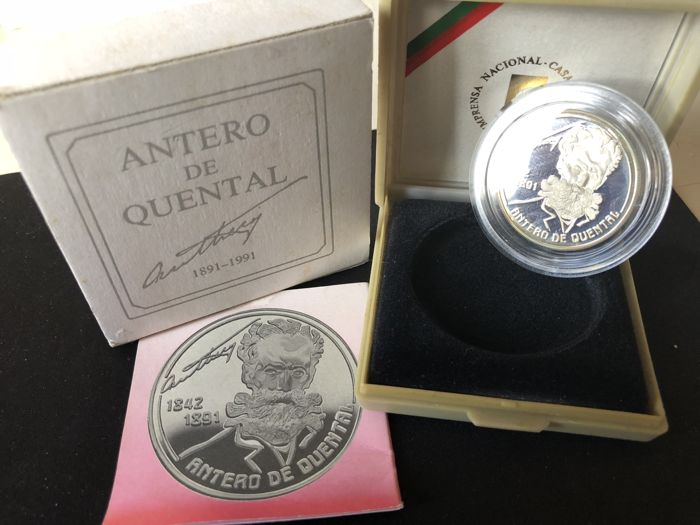 Portugal - Republica - 100 Escudos - Antero de Quental - 1991 - Proof - Silver
