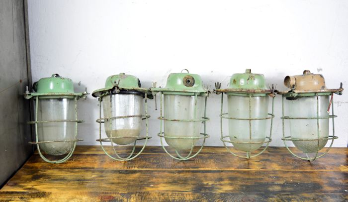 Unknown designer - Soviet Union industrial lamps (5x)
