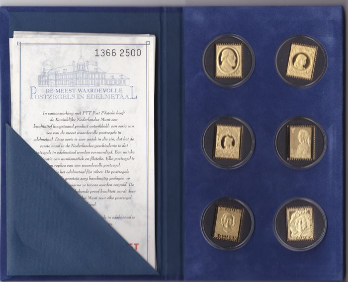 "Netherlands 2001 - KNM issue ""The most valuable stamps in precious metals"""