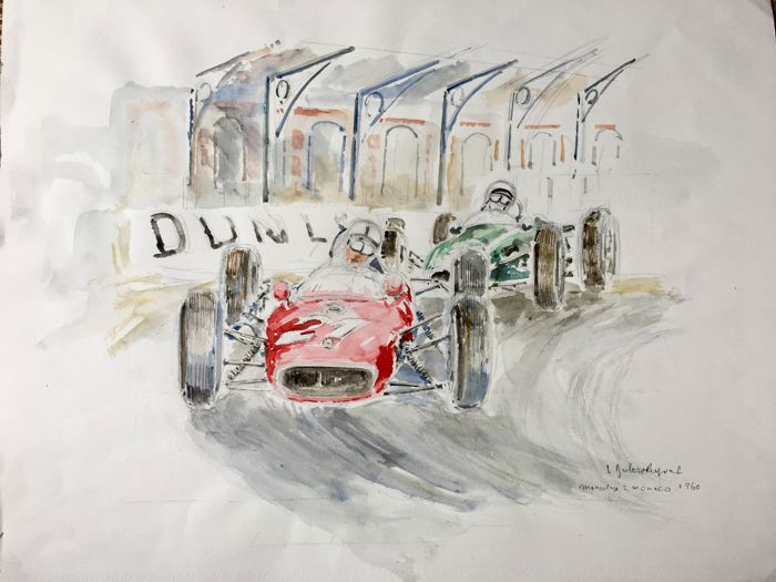 Watercolour of single-seater cars Monaco Jacques Dulery-Reyval 1988