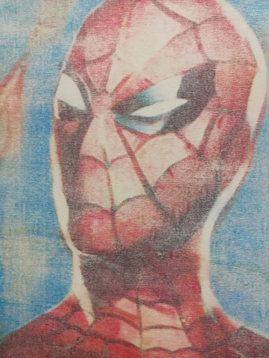 Spider-Man - Original artwork - on a wooden plate - (2018)