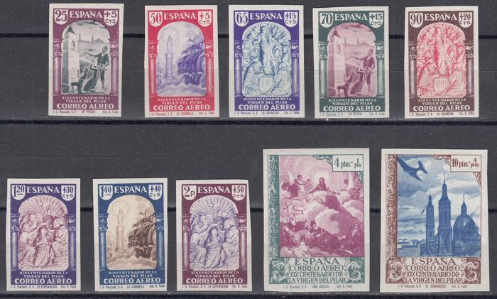 Spain 1940 - Series without spreading Virgin Pilar Air Mail - Edifil 904s/913s