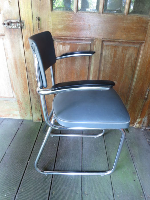 Chrome Tubular Armchair with Bakelite Armrests