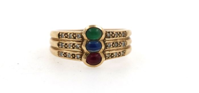 14 kt yellow gold women's ring, multicoloured with 0.18 ct diamond, 0.60 ct ruby, 0.60 ct emerald, 0.60 ct sapphire - ring size 56 (EU)