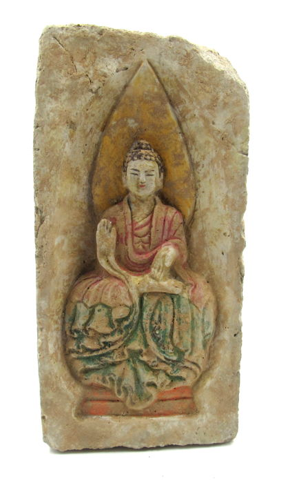 Oud-Chinees Terracotta Painted Brick of Seated Buddha - 34.5x16.5cm