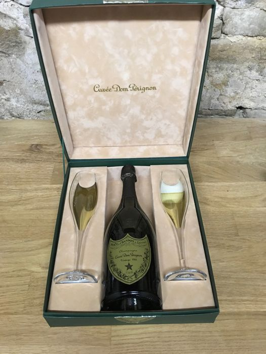 1985 Dom Perignon Vintage Brut - 1 bottle with 2 Glasses Set in Original Gift Box